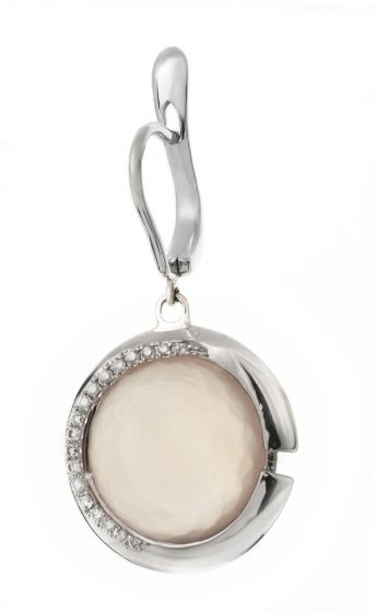 Talento Italiano white gold earrings with diamonds and pink quartz