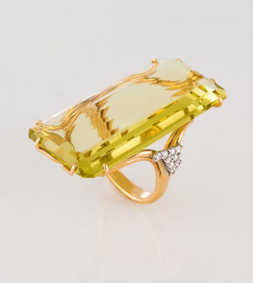 Casato Roma gold ring with citrine and diamonds