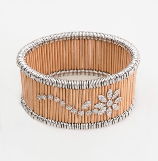 Jarretiere white and pink gold elastic bracelet with diamonds