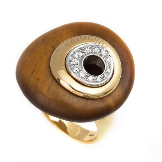 Chimento yellow gold ring with tiger eye and diamonds