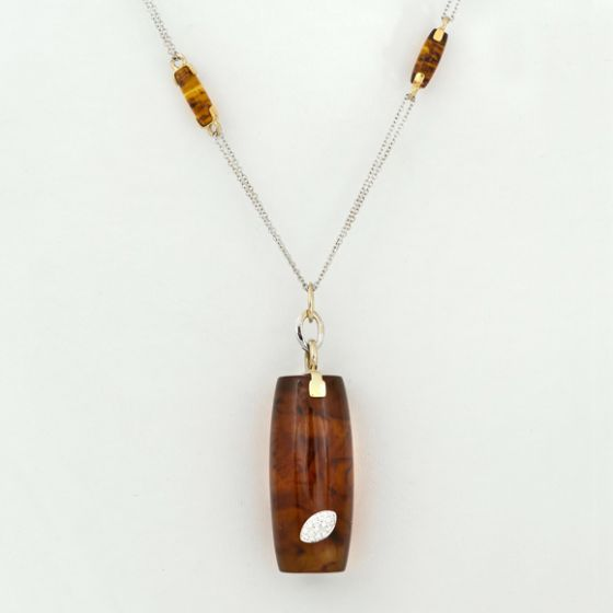 Talento Italiano white and yellow gold chain and pendant with diamonds and amber