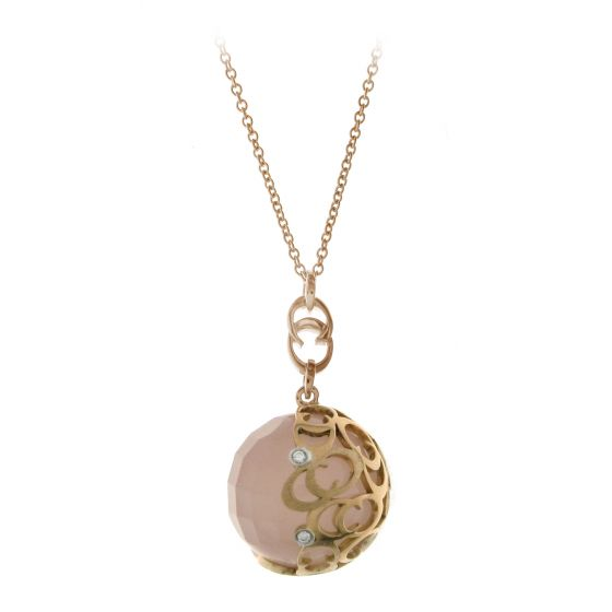 Chimento 18K Necklace in white and pink gold with diamonds and quartz