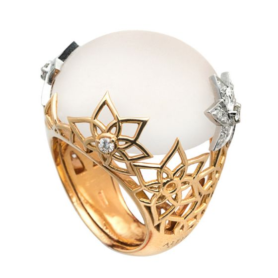 Alfieri & St.John pink and white gold ring with diamonds and quartz