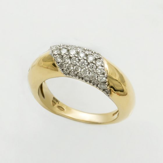 Damiani white and yellow gold ring with diamonds