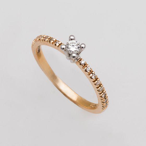 Alfieri & St.John yellow gold engagement ring with diamonds