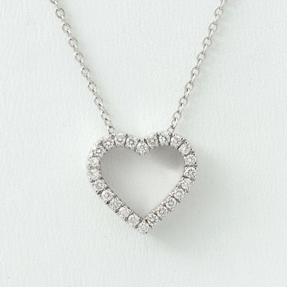 Alfieri & St.John white gold chain and hearth pendant with diamonds