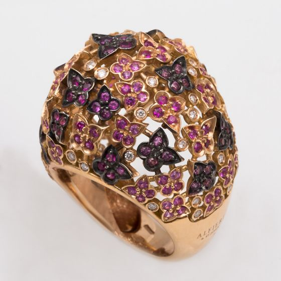 Alfieri & St.John pink gold ring with sapphires and diamonds