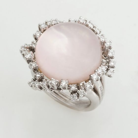 Alfieri & St.John white gold ring with pink quartz and diamonds