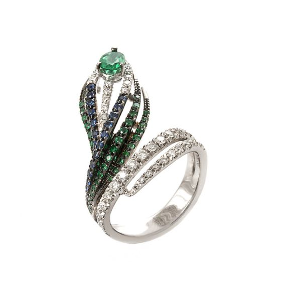 Damiani white gold ring with emeralds, sapphires and diamonds