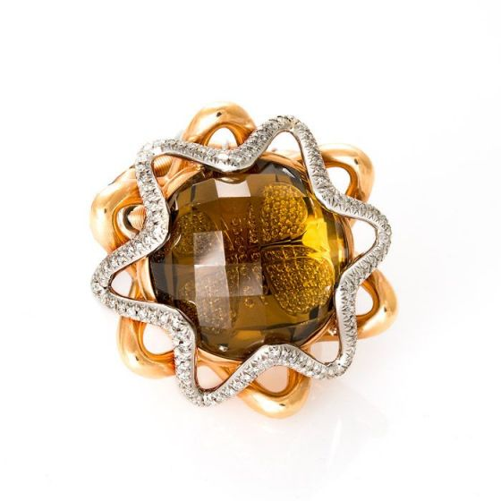 Jarretiere pink and white gold elastic ring with yellow citrine and diamonds