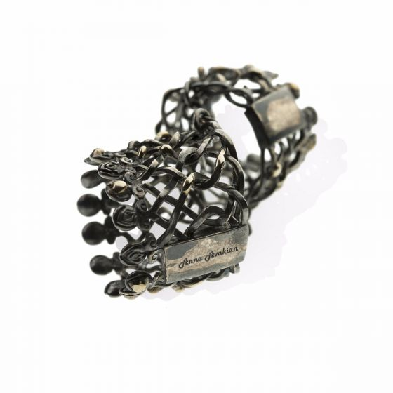 Anna Avakian silver double ring with gold