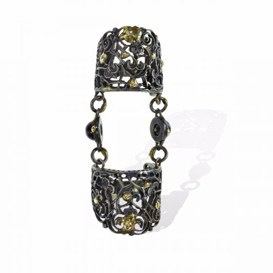 Anna Avakian yellow gold and silver double ring