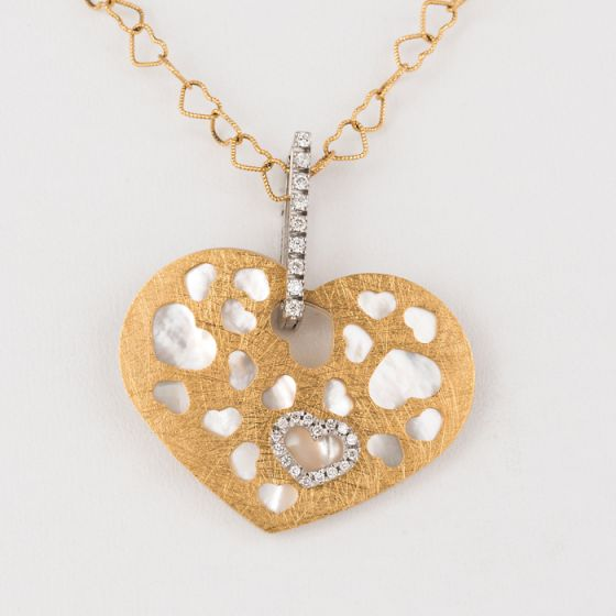 Nanis white and yellow gold chain with diamonds and mother of pearl pendant