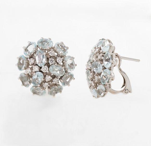 Alfieri & St.John white gold earrings with aquamarine and diamonds