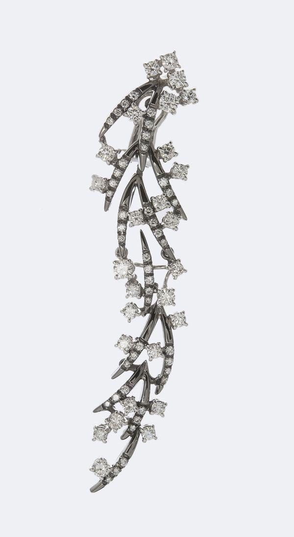 Damiani White Gold Black Rhodium Earrings With Diamonds