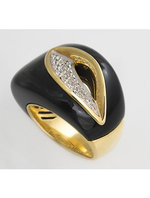 Chimento yellow gold ring with onyx and diamonds