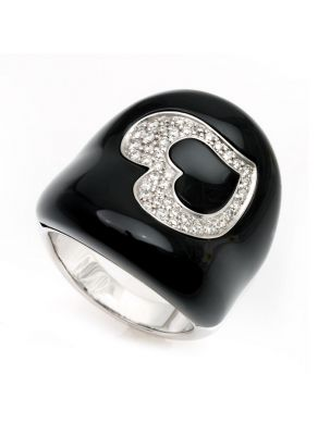 Chimento white gold ring with onyx and heart of diamonds