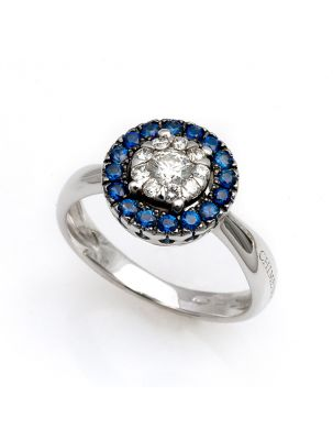 Chimento white gold ring with sapphires and diamonds