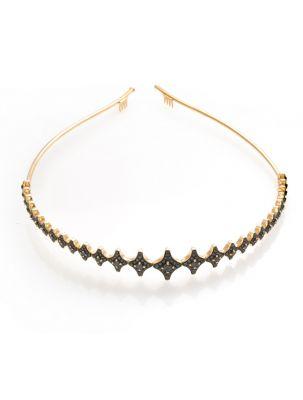 Chimento yellow gold tiara with black diamonds