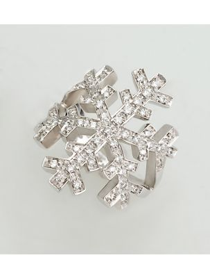 Salvini white gold ring with diamonds snowflake