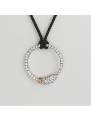 Damiani white and pink gold leather necklace and pendant with diamonds