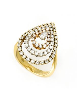 Damiani yellow, pink and white gold ring with white diamonds