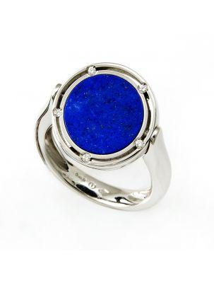 Damiani white gold ring with lapis lazuli and black onyx