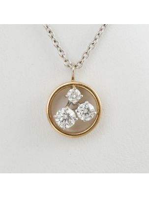 Damiani white and pink gold chain and pendant with diamonds