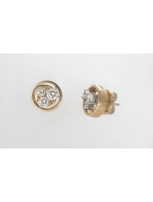 Damiani pink and white gold earrings with white diamonds