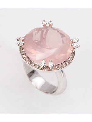 Alfieri & St.John white gold ring with diamonds and pink quartz