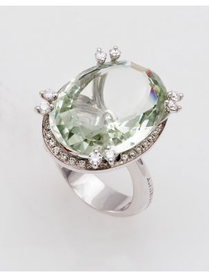 Alfieri & St.John white gold ring with green praziolide and diamonds