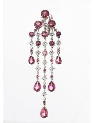 Alfieri & St.John white gold earrings with tourmaline and diamonds