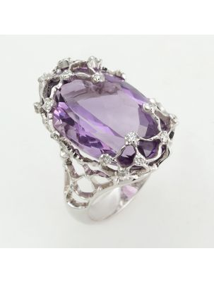 Alfieri & St.John white gold ring with amethyst and diamonds
