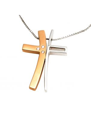Alfieri & St.John white gold chain cross pendant with diamonds