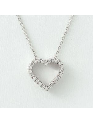 Alfieri & St.John white gold chain and hearth pendant with diamonds