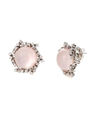 Alfieri & St.John white gold earrings with pink quartz and diamonds