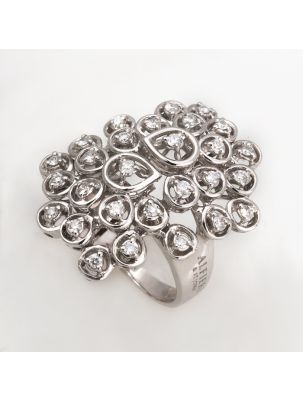 Alfieri & St.John white gold ring with white diamonds