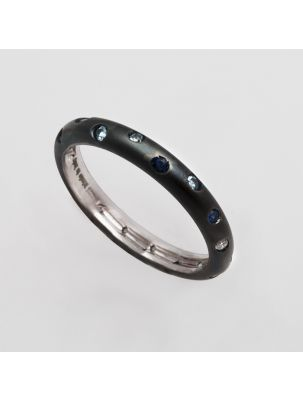 Alfieri & St.John white gold blue rhodium wedding band with sapphires and diamond