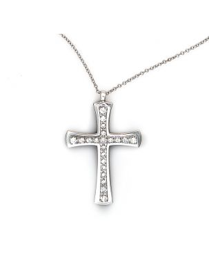 Damiani white gold chain and cross pendant with diamonds
