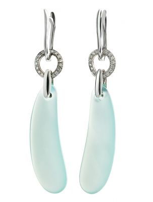 Talento Italiano white gold earrings with chalcedony and diamonds