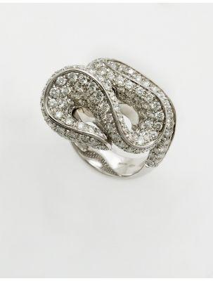 Damiani white gold ring with diamonds Fireworks
