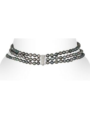 Damiani necklace with black pearls and diamonds