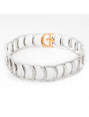 Damiani white and pink gold bracelet with white diamonds