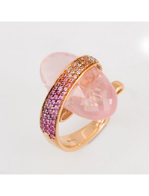 Io-si pink gold ring with pink quartz, sapphire and diamonds