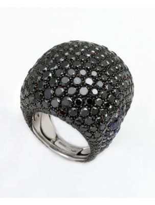 Palmiero white gold ring with black diamonds and sapphires