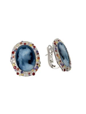 Palmiero white gold earrings with sapphire, diamonds and agate