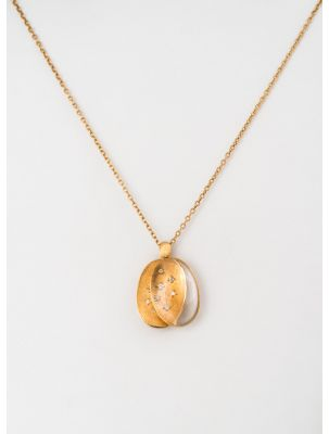 Nanis yellow gold chain and pendant with crystal