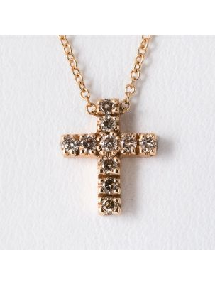 Pomellato pink gold chain and cross pendant with brown diamonds
