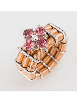 Jarretiere pink and white gold elastic ring with pink tourmaline and diamonds