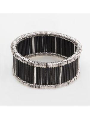 Jarretiere white and black gold elastic bracelet with diamonds